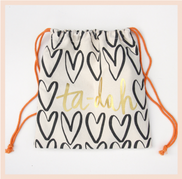 Caroline Gardner Heart Drawstring Wash Bag