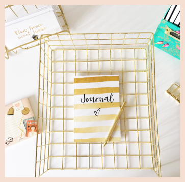 Journal - Gold & White Stripe