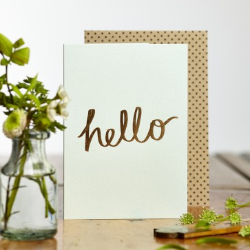 Katie Leamon - 'Hello' Gold Foiled Greeting Card