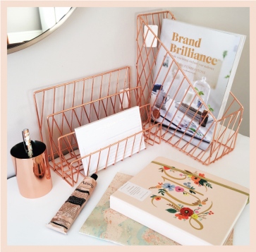 Rose Gold Wire Magazine Rack
