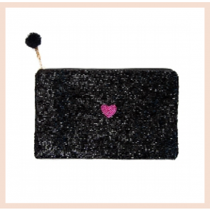 Artebene - Black Beaded Pouch with Pink Heart