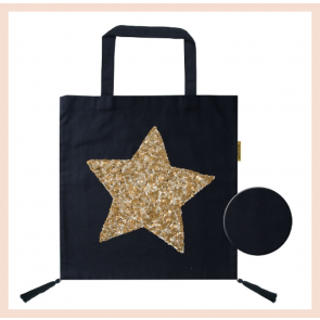 Cotton Bag - Gold Sequin Heart
