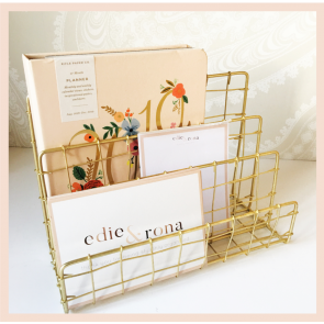 Gold Wire Letter Rack - Wavy