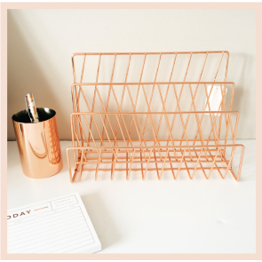 Rose Gold Wire Letter Rack