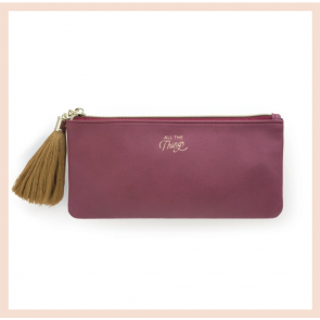 Tassel Pencil Pouch -  Burgundy Vegan Leather